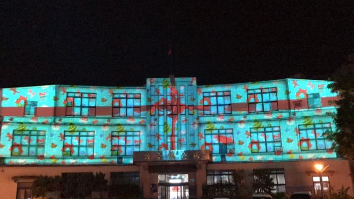 竹東鎮3D光雕秀出滿滿耶誕味!