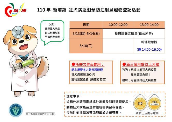 5/13-14、5/18本縣新埔鎮 狂犬病巡迴預防注射及寵物登記活動