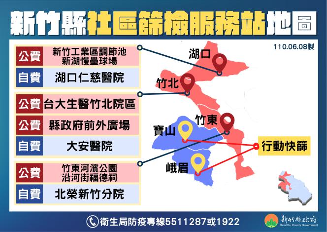 新竹縣社區篩檢站地圖