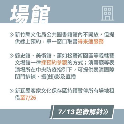 7/13起為解封-新竹縣部分鬆綁措施一覽表-場館
