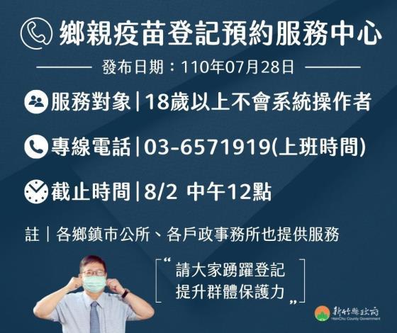 民眾不會上網登記? 竹縣疫苗預約服務專線開跑 共3張圖片