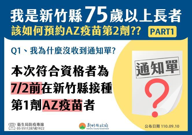 7/2前在新竹縣接種第1劑AZ疫苗的75歲以上長者可以預約第二劑AZ