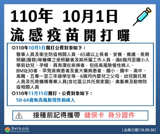 流感疫苗10月1日開打    與新冠疫苗接種間隔至少7天